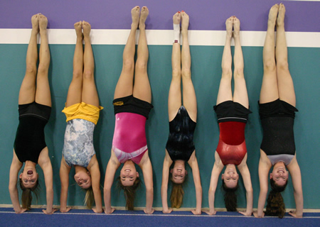 Girls upside down